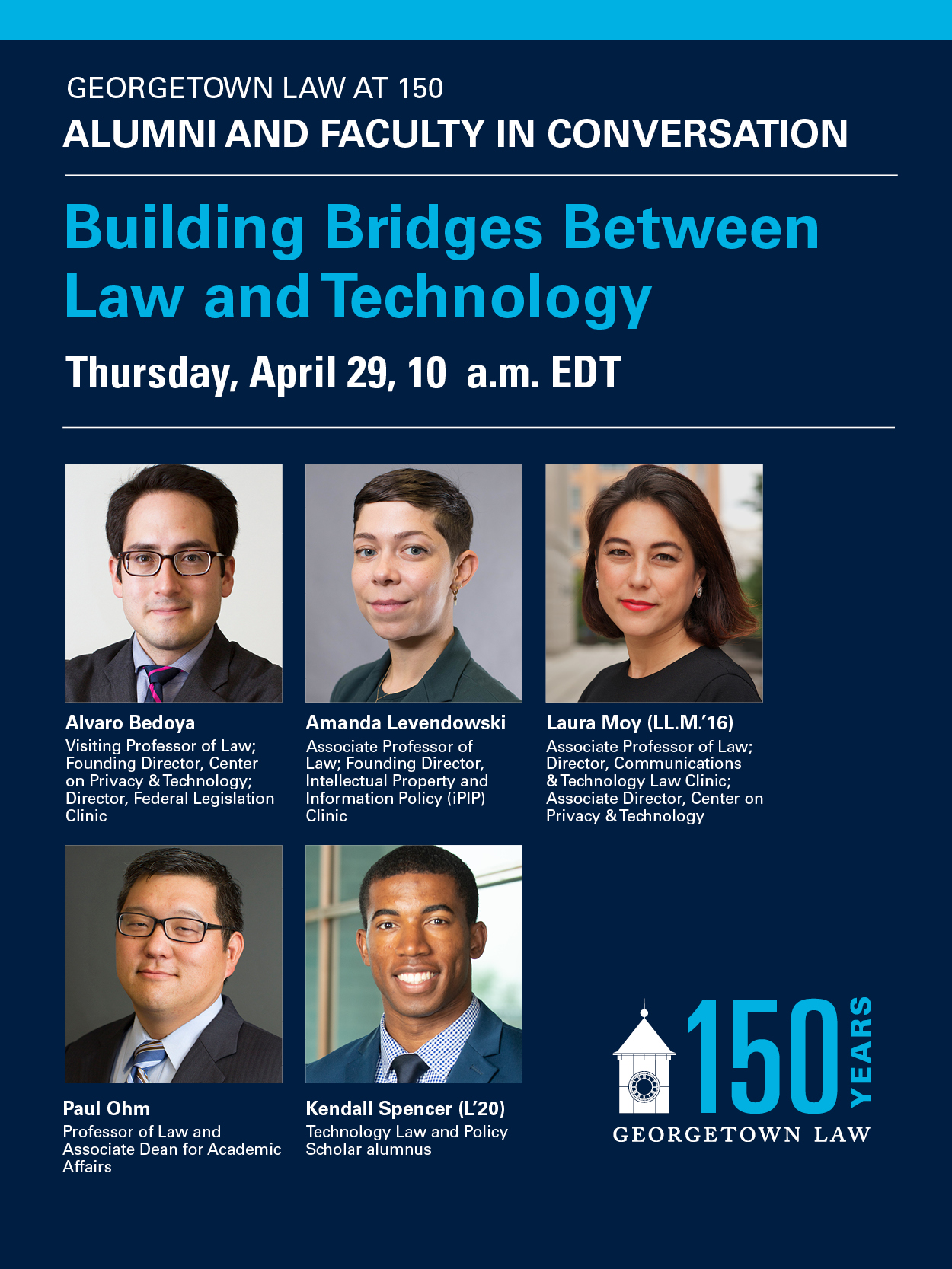 Promotional Graphic Image for 150th Anniversary Virtual Event: Building Bridges Between Law and Technology