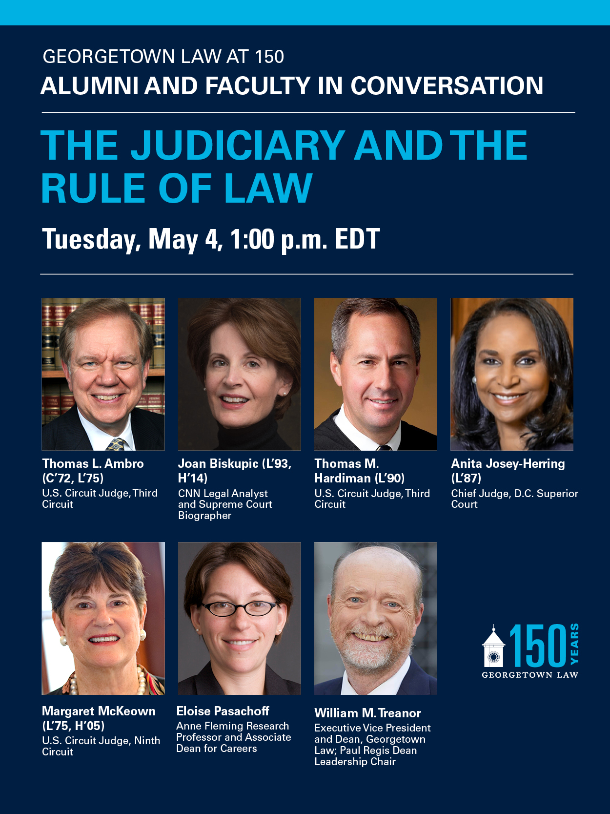 Promotional Graphic Image for 150th Anniversary Virtual Event: The Judiciary and the Rule of Law
