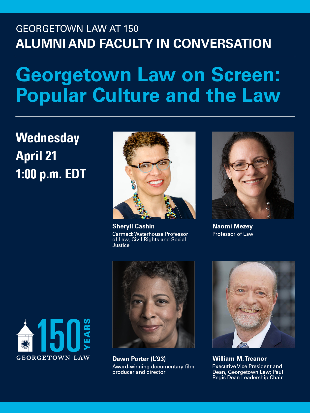 Promotional Graphic Image for 150th Anniversary Virtual Event: On Screen – Popular Culture and the Law