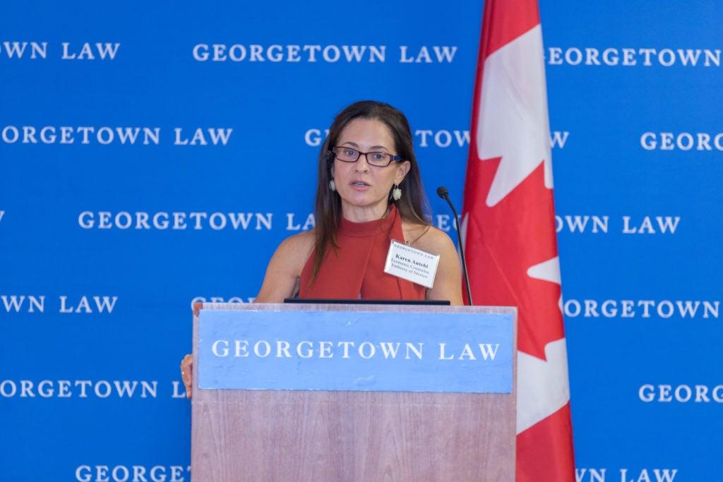 Karen Antebi delivering the keynote address