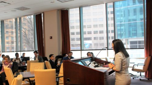Professor Hoang presenting at the Colloquium