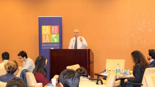 Professor Kingsbury presenting at the Colloquium