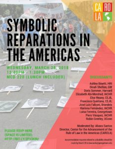 Flyer used for Symbolic Reparations Roundtable; includes date, location, RSVP link and name of participants