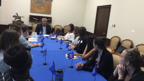 Georgetown Law students meeting with an official of the Inter-American Commission on Human Rights