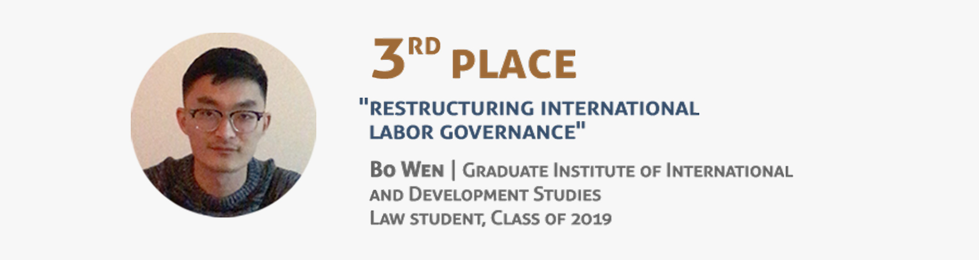 Third place - Bo Wen - Graduate Institute of International and Development Studies