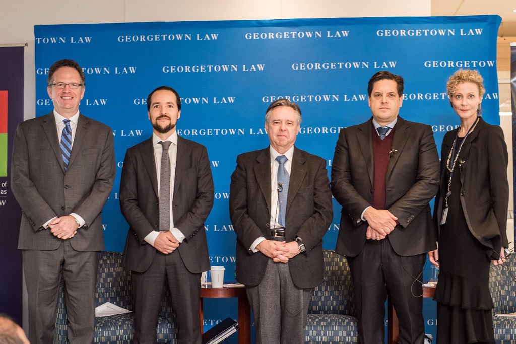 Professor Santos standing with the Mexican Supreme Court Justices, Thomas Banchoff, and Alicia Ely Yamin