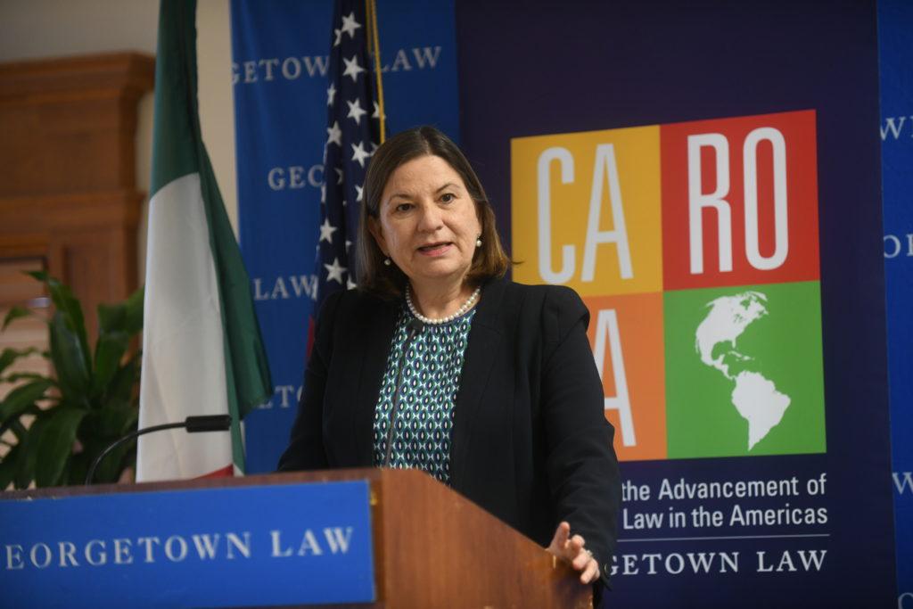 Ambassador Barcena adressing the audience