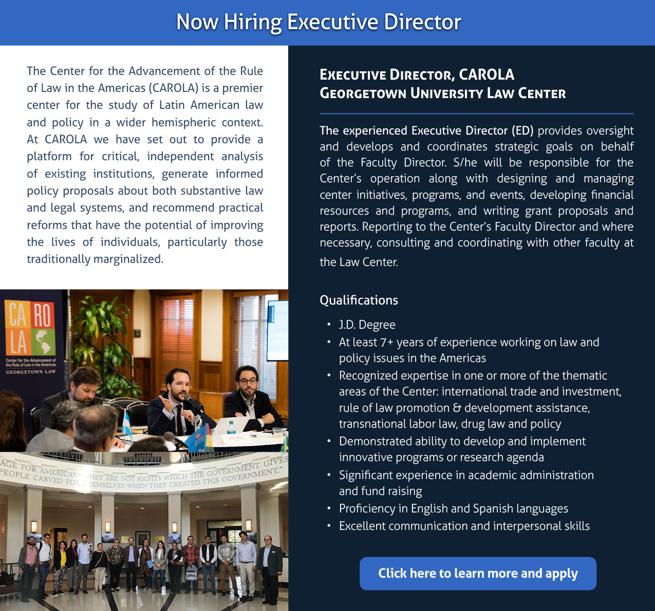 Anouncement on hiring an executive director with description of the job and qualifications of interested candidates