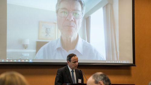 Professor Jeffrey Sachs remotely delivering his keynote address