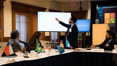 Professor Alvaro Santos presenting during workshop