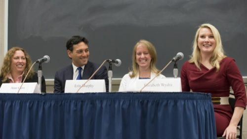 PANELIST ERIN MURPHY OF BANCROFT PLLC smiling during Originalism Summer Seminar