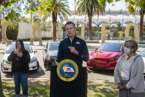 Newsom addressing California's constituents about the purpose of his recent executive order, an effort by the State to mitigate the on-going consequences of climate change. Image by Daniel Kim/The Sacramento Bee.