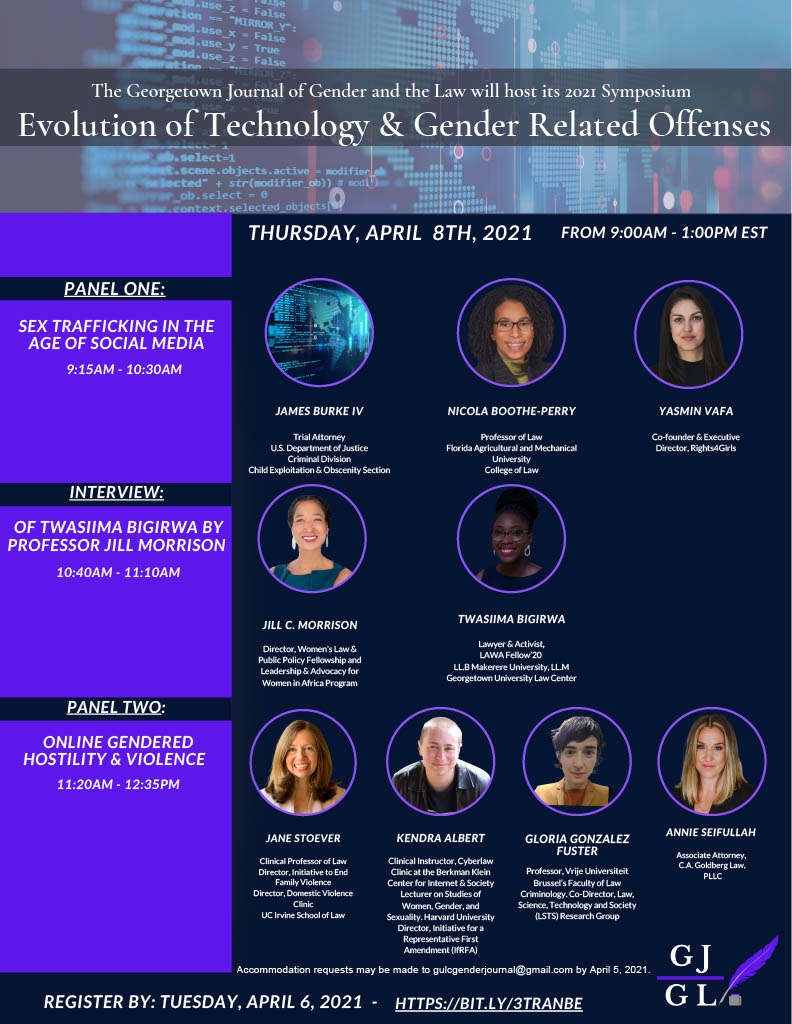 Display of the graphic advertisement for the 2021 SYMPOSIUM: THE EVOLUTION OF TECHNOLOGY & GENDER-RELATED OFFENSES