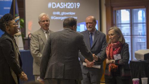 Professors Andrew Schoenholtz, Carlos Vazquez, Maryellen Fullerton, and Dean William Treanor at the 2019 Dash Conference