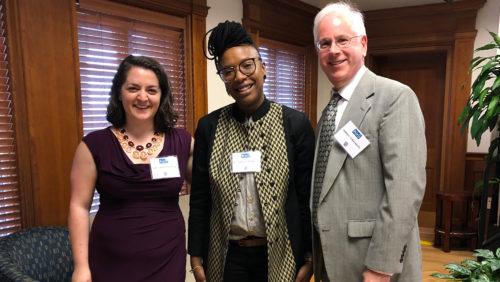 HRI Dash/Muse Fellow Ashley Binetti Armstrong, Keynote Speaker Professor E. Tendayi Achiume, and Professor Andrew Schoenholtz at the 2019 Dash Conference