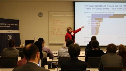 Jennifer Hillman lectures audience