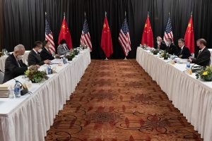 Secretary of State Antony J. Blinken and National Security Advisor Jake Sullivan meet with Chinese Communist Party Director of the Office of the Central Commission for Foreign Affairs Yang Jiechi and State Councilor Wang Yi, in Anchorage, Alaska, on March 18, 2021.