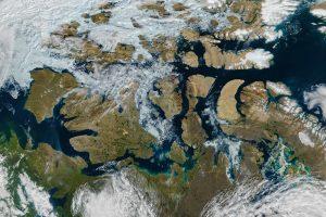 NASA satellite image by Jeff Schmaltz showing a nearly ice-free Northwest Passage