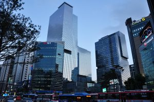 Samsung Town in the Gangnam station area of Seoul, South Korea