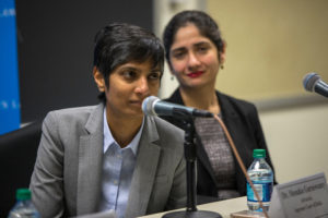 Dr. Menaka Guruswamy and Arundhati Katju, two top advocates in India's Supreme Court, spoke to students about the decision that decriminalized adult same-sex contact in that country.