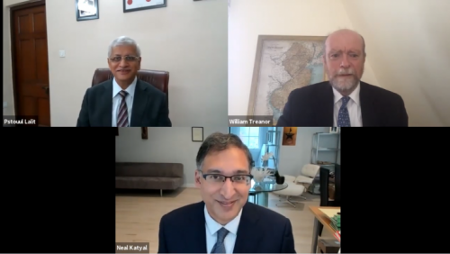 (Clockwise) Indian Supreme Court Justice Uday Lalit, Dean William M. Treanor and Professor Neal Katyal at the zoom event 'Keeping the Executive in Check: The Role of the Judiciary'