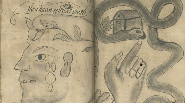 Drawing from pre-Colonial Mexico depicting a face in profile and a hand  pointing at. From the Manuscripts Collection 86e37e7e397d