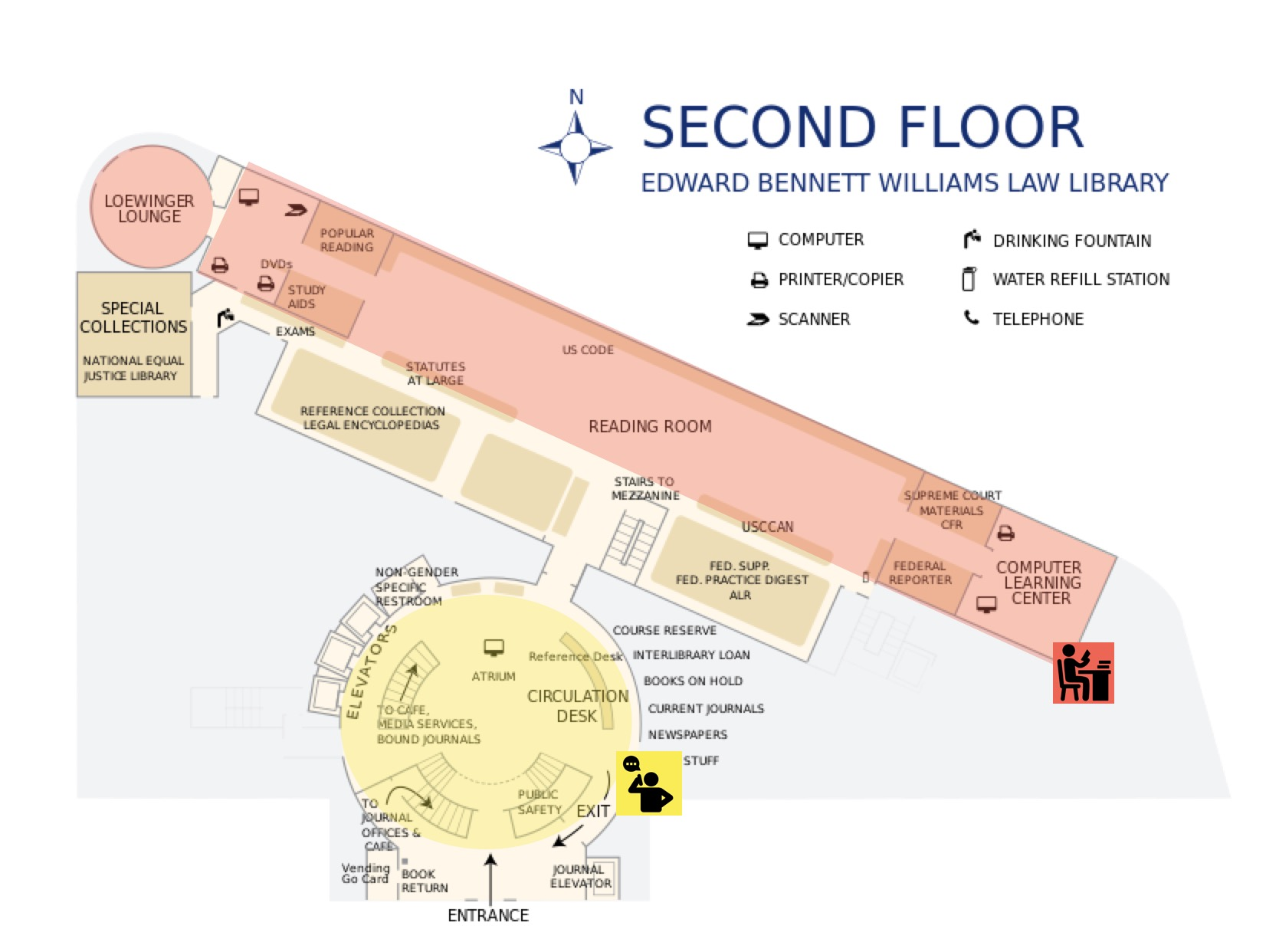 Map of Williams Library Second Floor with noise zones indicated