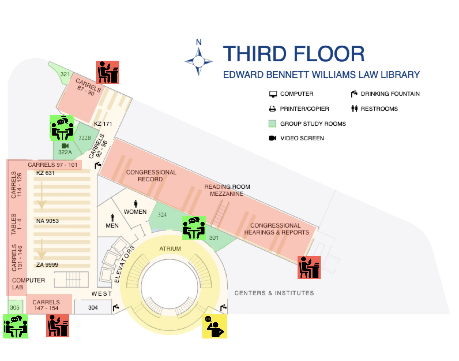 Map of Williams Library Third Floor with noise zones indicated