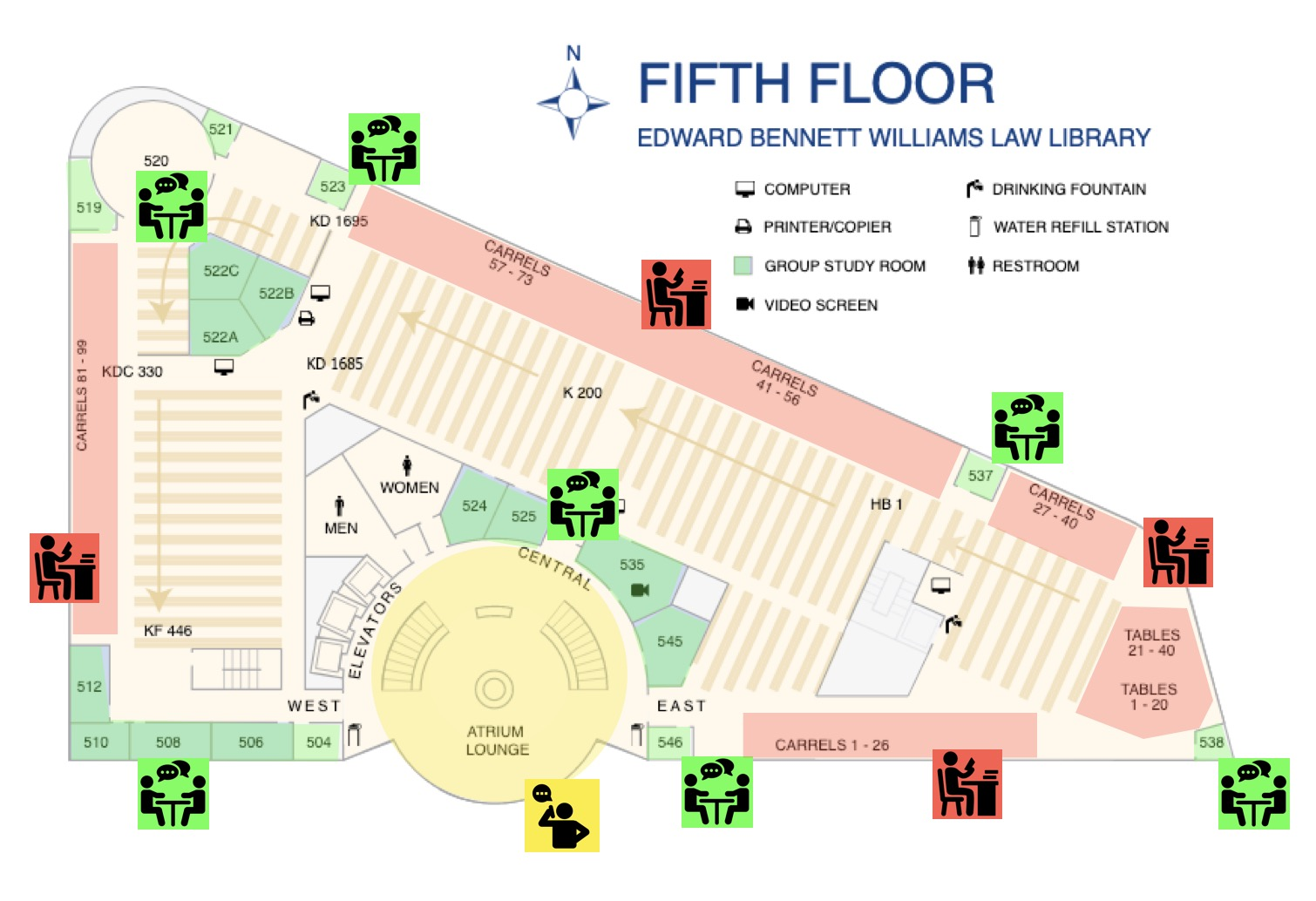 Map of Williams Library Fifth Floor with noise zones indicated