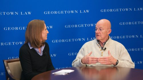 Official Observer and former Director of National Intelligence James Clapper gives advice to future national security lawyers, in an interview with CNN correspondent Carrie Cordero