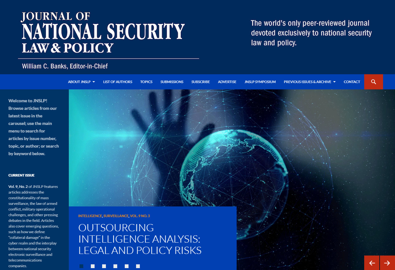 This is a link that displays the home page of the Journal of National Security Law & Policy website.   Clicking the link will take you to the website.