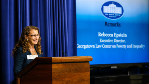 Rebecca Epstein at the White House lectern