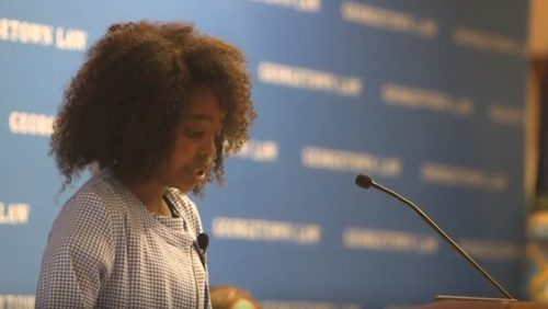 Naomi Wadler speaks at the Center's Gender Justice and Opportunity Initiative Launch Event