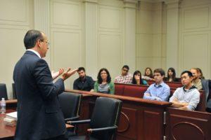 Paul Clement speaking in Moot Court Room