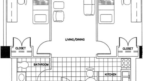 Large Two-Bedroom Apartment Floorplan
