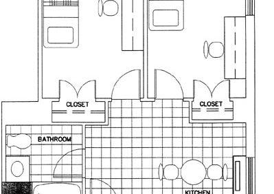 Two-Bedroom Corner Efficiency Apartment Floorplan