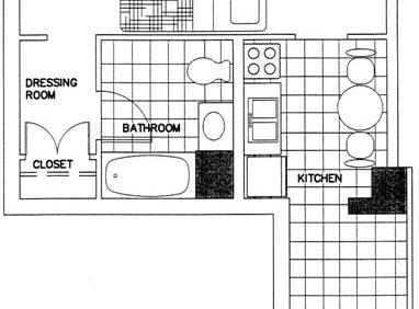 Single Efficiency Apartment Floorplan