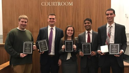 Students getting Trial Advocacy award