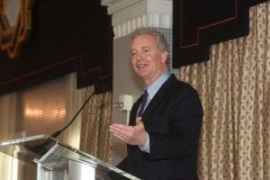 Senator Chris Van Hollen (D-Md.)(L'90) addresses Georgetown Law alumni at the Hotel Monaco in Washington, D.C., on May 17.