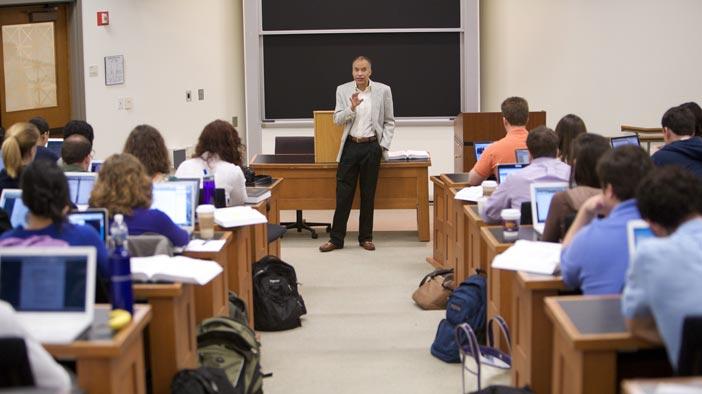 Professor Spann speaks to a class