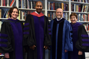 Professor Paul Butler, the inaugural Albert Brick Professor of Law, with Professor Allegra McLeod, Dean William M. Treanor and Professor Abbe Smith.