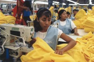 Women sewing in a factory assembly line