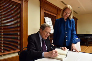 Peter Edelman, the Carmack Waterhouse Professor of Law and Public Policy at Georgetown Law, published his new book, Not a Crime to Be Poor: The Criminalization of Poverty in America (The New Press) on October 31. He is pictured signing a copy for Professor Jane Stromseth at an event in Gewirz Student Center on November 7.