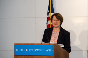 Senator Amy Klobuchar of Minnesota spoke at Georgetown Law's Sixth Annual Hotel and Lodging Legal Summit on October 26 about preventing human trafficking.