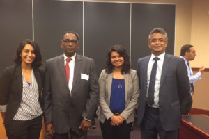 Sonika Data L'19; Honorable Mr. Justice Jasti Chelameswar, Judge Supreme Court of India; Merin Cherian L'19; and Sajan Poovayya, Senior Advocate, Supreme Court of India at Georgetown Law on October 11.