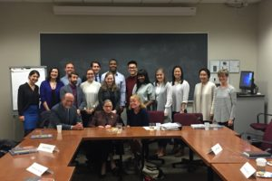 "Dean William M. Treanor and Adjunct Professor Mary Hartnett welcome Supreme Court Justice Ruth Bader Ginsburg to Hartnett's class during ""Week One."" Other popular courses featured simulations in which students played innovative roles."