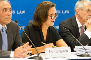 Irv Gornstein, executive director of Georgetown Law's Supreme Court Institute, with Gibson Dunn partner Helgi C. Walker and former U.S. Solicitor General Donald Verrilli at the SCI annual press briefing on September 19.