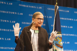 U.S. Supreme Court Justice Ruth Bader Ginsburg smiles and waves during the 2017 lecture to incoming students. Ginsburg spoke to new J.D. and LL.M. students at the 2017 Lecture to the Incoming Class in Hart Auditorium on September 20.