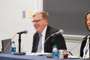Georgetown Law Distinguished Visitor from Practice Paul M. Smith sits on a panel in McDonough Hall. Smith argued Gill v. Whitford in the U.S. Supreme Court on October 3.