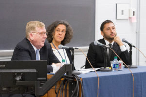 Distinguished Professor Paul M. Smith, Supreme Court Institute Director Dori Bernstein and Misha Tseytlin, solicitor general of Wisconsin, discuss the Supreme Court case of Gill v. Whitford at Georgetown Law on October 3.